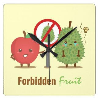 Dibujo animado divertido, fruta prohibida, Apple y Reloj