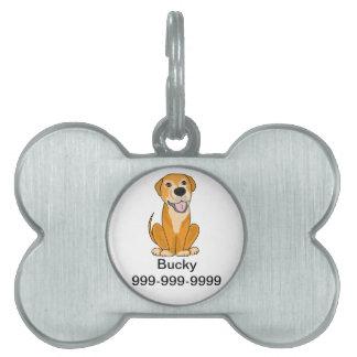 Dibujo animado divertido lindo del perrito del per placas de nombre de mascota