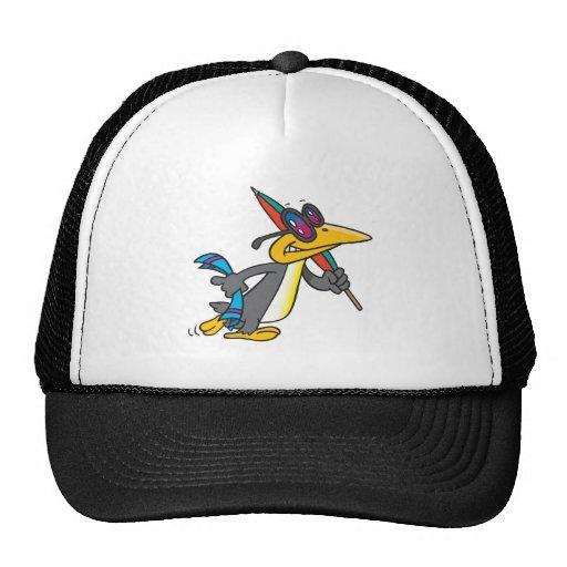 dibujo animado divertido lindo del pingüino de la  gorra
