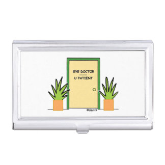 Dibujo animado divertido óptico del oftalmólogo cajas de tarjetas de visita