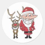 Dibujo animado divertido Santa y Rudolph Pegatinas Redondas