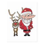 Dibujo animado divertido Santa y Rudolph Postal