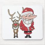 Dibujo animado divertido Santa y Rudolph Alfombrillas De Ratón