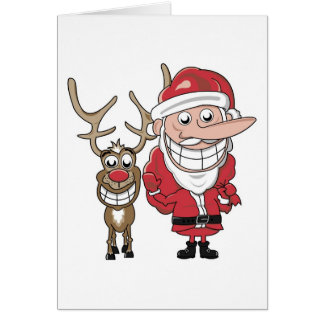 Dibujo animado divertido Santa y Rudolph Tarjetas