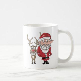 Dibujo animado divertido Santa y Rudolph Taza Básica Blanca