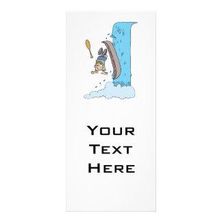 dibujo animado divertido sobre la cascada en canoa tarjetas publicitarias personalizadas