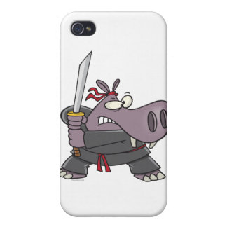 dibujo animado divertido tonto del hipopótamo del  iPhone 4/4S funda