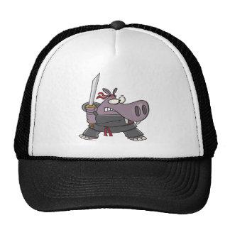 dibujo animado divertido tonto del hipopótamo del  gorro