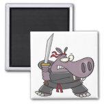 dibujo animado divertido tonto del hipopótamo del  imán de frigorifico