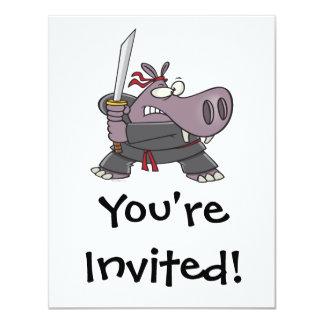 """dibujo animado divertido tonto del hipopótamo del invitación 4.25"""" x 5.5"""""""