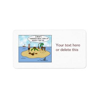 Dibujo animado divertido Woodturner en la isla aba Etiquetas De Dirección