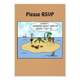 """Dibujo animado divertido Woodturner en la isla Invitación 3.5"""" X 5"""""""