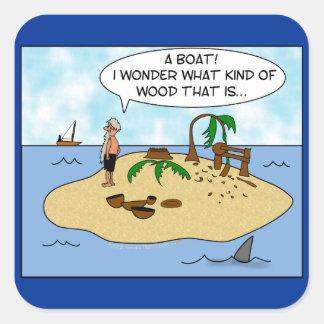 Dibujo animado divertido Woodturner en la isla Pegatina Cuadrada
