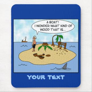 Dibujo animado divertido Woodturner en la isla Mouse Pads