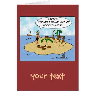 Dibujo animado divertido Woodturner en la isla Tarjeta De Felicitación