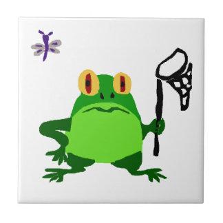 Dibujo animado divertido XY de la rana y de la lib Azulejo Cuadrado Pequeño