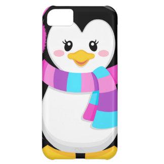 dibujo animado dulce lindo del pingüino de la niña