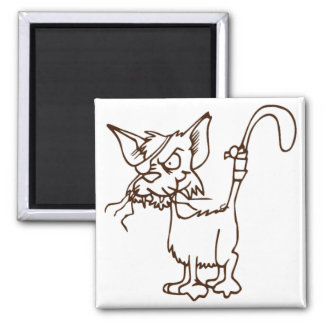 Dibujo animado duro del gatito del gato callejero imán cuadrado