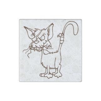 Dibujo animado duro del gatito del gato callejero imán de piedra