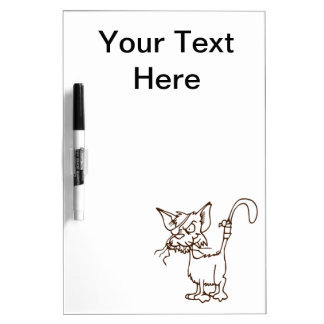 Dibujo animado duro del gatito del gato callejero: pizarra blanca