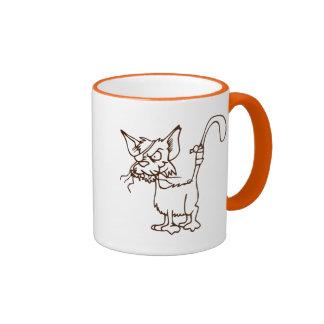 Dibujo animado duro del gatito del gato callejero: tazas de café