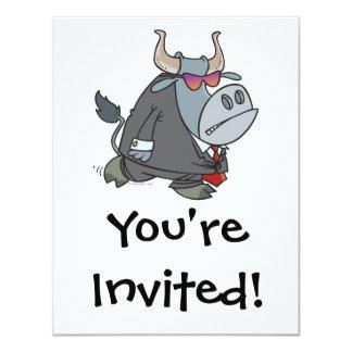 """dibujo animado duro del toro del guardia de invitación 4.25"""" x 5.5"""""""