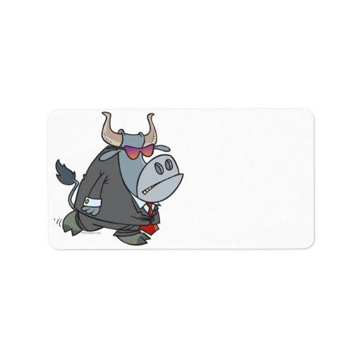 dibujo animado duro del toro del guardia de seguri etiquetas de dirección
