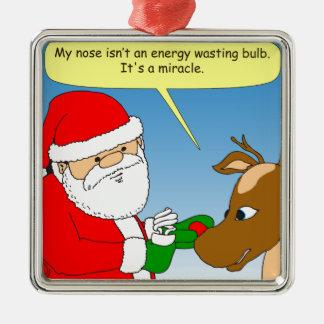 dibujo animado económico de energía del bulbo de adorno navideño cuadrado de metal
