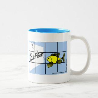 Dibujo animado egoísta de los pescados de los taza de dos tonos