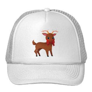 Dibujo animado el reno con la nariz roja con la gorro