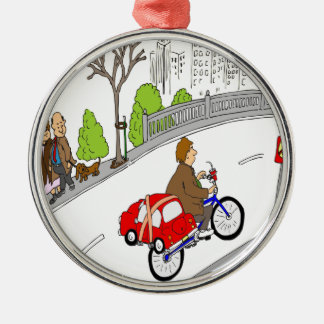 dibujo animado elegante del estante de la bici del adorno navideño redondo de metal