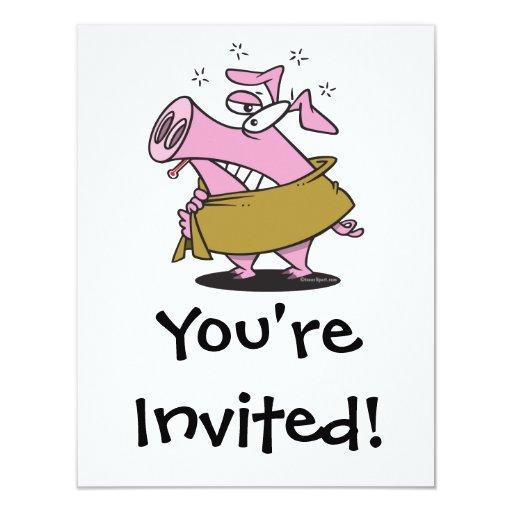"""dibujo animado enfermo del cerdo de la gripe de invitación 4.25"""" x 5.5"""""""