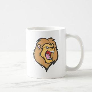 Dibujo animado enojado de encargo del león taza