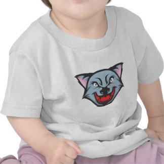 Dibujo animado enojado de encargo del lobo camisetas