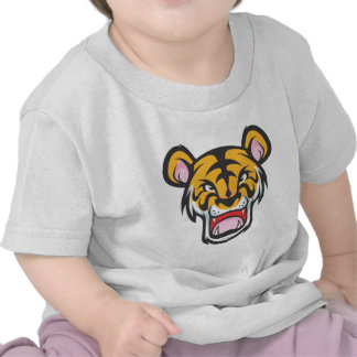 Dibujo animado enojado de encargo del tigre camiseta