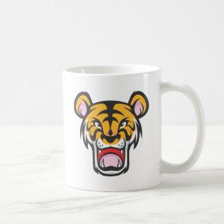 Dibujo animado enojado de encargo del tigre taza