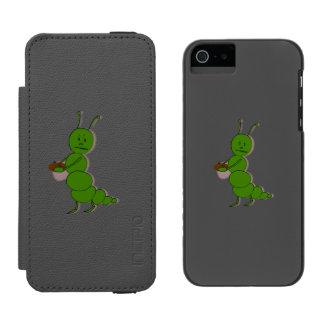 Dibujo animado enojado de la oruga funda billetera para iPhone 5 watson