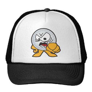 Dibujo animado enojado de la pelota de golf gorras de camionero