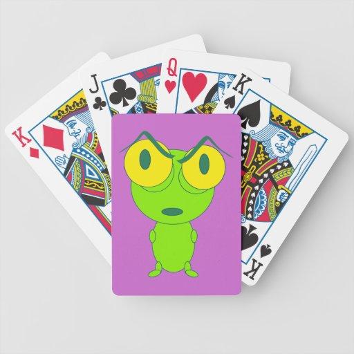 Dibujo animado enojado de la rana baraja cartas de poker