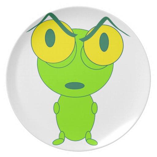 Dibujo animado enojado de la rana plato