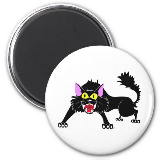 Dibujo animado enojado del gato negro que silba imanes