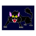 Dibujo animado enojado del gato negro que silba postales