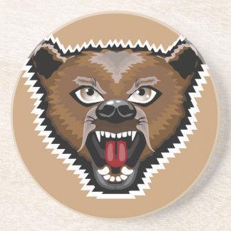 Dibujo animado enojado del oso posavaso para bebida