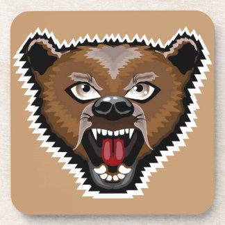 Dibujo animado enojado del oso posavasos de bebidas