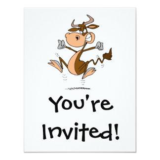 """dibujo animado enojado divertido de la vaca de la invitación 4.25"""" x 5.5"""""""