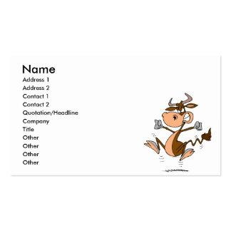 dibujo animado enojado divertido de la vaca de la  tarjeta de visita