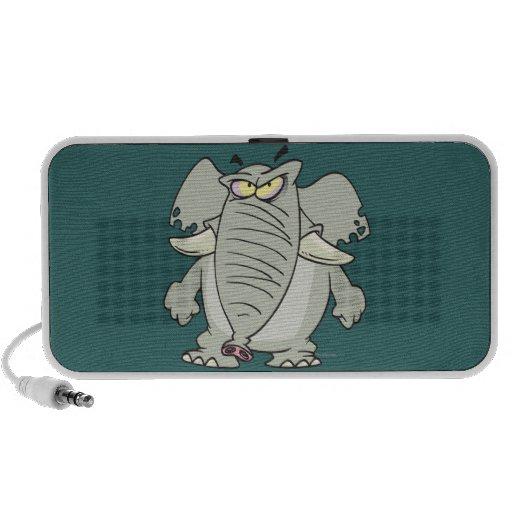 dibujo animado enojado enojado del elefante del gr portátil altavoz