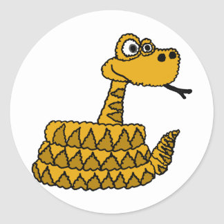 Dibujo animado enrrollado de la serpiente de pegatina redonda