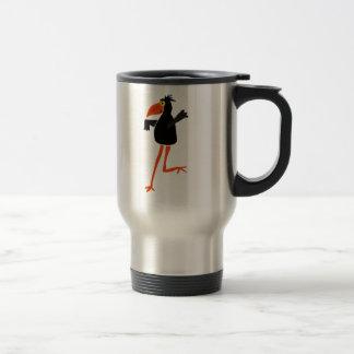 Dibujo animado enrrollado del cuervo del baile tazas de café