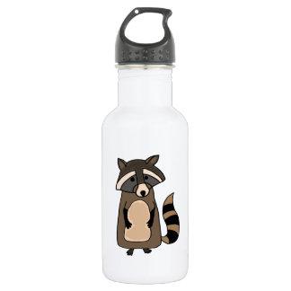 Dibujo animado enrrollado del mapache botella de agua